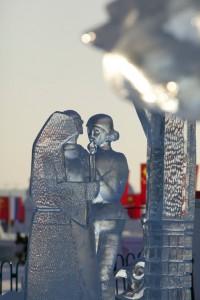Kunstwerk aus Eis in Harbin/China